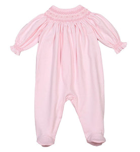 Pink w/ White Dot Hand Smocked Bishop Footie