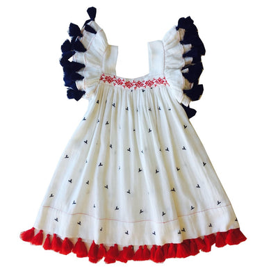 Serena Tassel Dress - Red White and Blue Embroidery (4, 6)