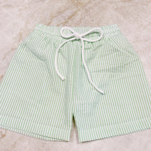 Green Seersucker Swimtrunks (6-9m - 4t)