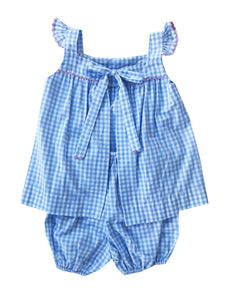 Sally Swing Set - Blue Gingham w/ Pink Ric Rac (9m-3t)