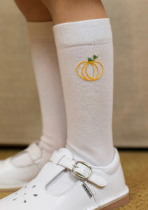 Knee High Socks with Pumpkin Embroidery (M)
