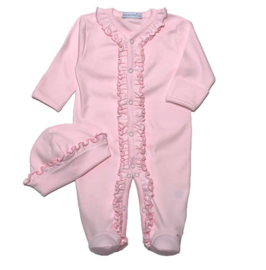 Pima Footie and Hat Set - Pink w/ Ruffle Detail