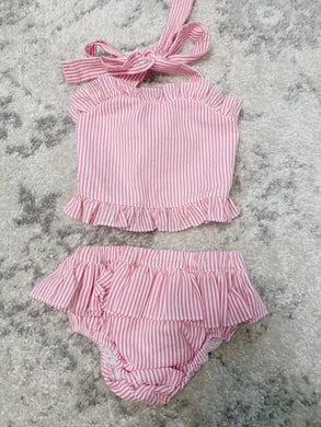 Pink Seersucker Swimsuit (6m)
