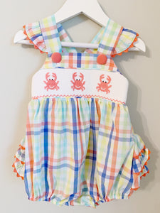 Crab Island Smocked Ruffle Bubble (3m-12m)