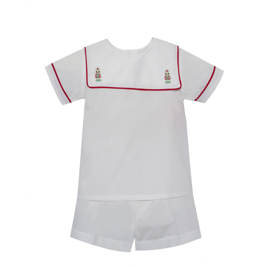 White Short Set with Red Piping & Nutcracker Embroidery (2t, 3t, 4t)