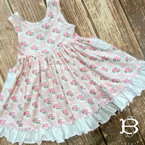 Pocket Dress - Shabby Rose (12m, 18m, 2t, 3t, 4t)