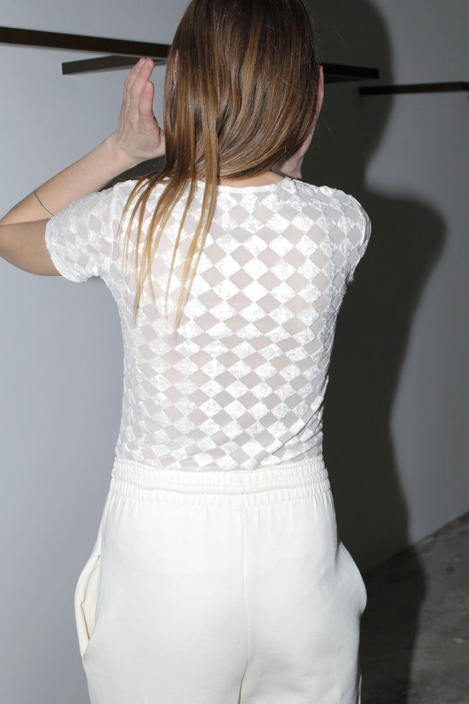 BASERANGE, Omo Tee, Velours Checked, White, Back