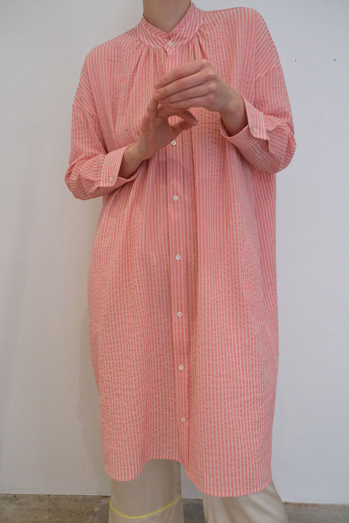 CARON CALLAHAN, Aurora Dress, Pink Gauze Stripe