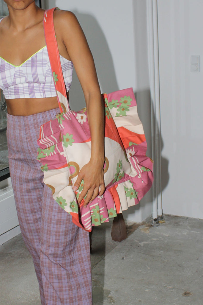 MISS KK, Ruffle Bag, Pink Pattern, Worn by Model
