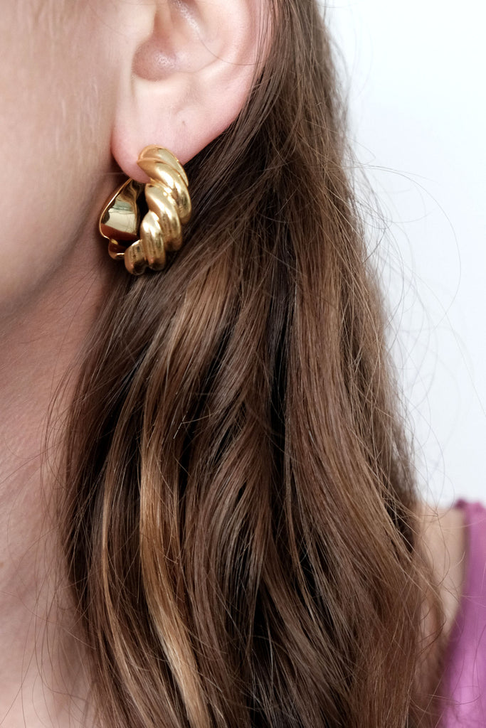 SOPHIE BUHAI, Gold Large Rope Hoop Earrings
