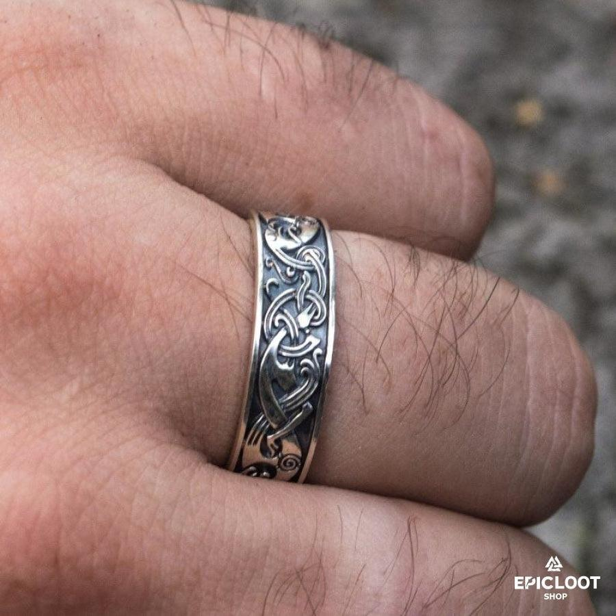 925 Silver Nordic Carving Ring