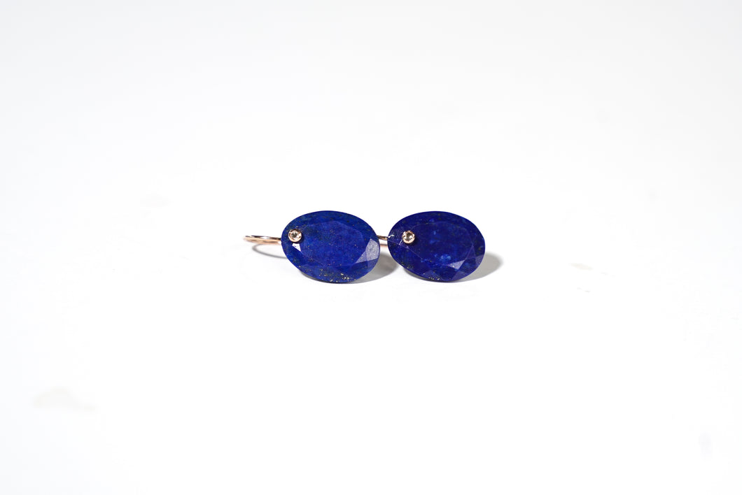 Lapis Stone Earring with Rose Cut Diamond