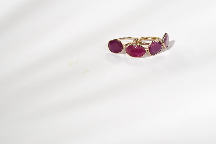 Faceted Ruby Rings