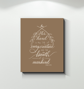 Soulbreather™ Scripture Wall Canvas  Job 12:10