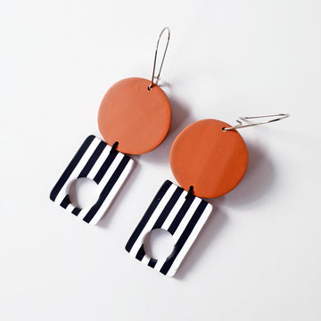 Burnt Orange Round Dangles