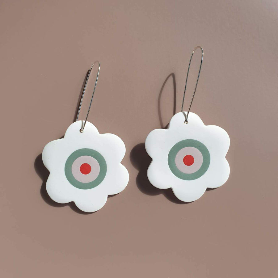 Hopeful Daisy (large)  - Sage, White, Pink and Red  Daisy Dangle Earrings