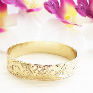 Gold 15mm Hawaiian Bangle (14k Gold Plated)