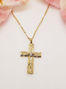 Hawaiian Heirloom Cross CZ Necklace