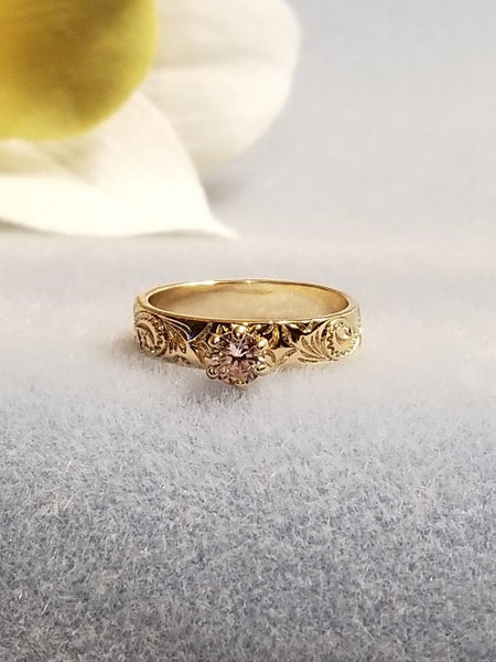 4mm Gold Hawaiian Heirloom Crystal Ring