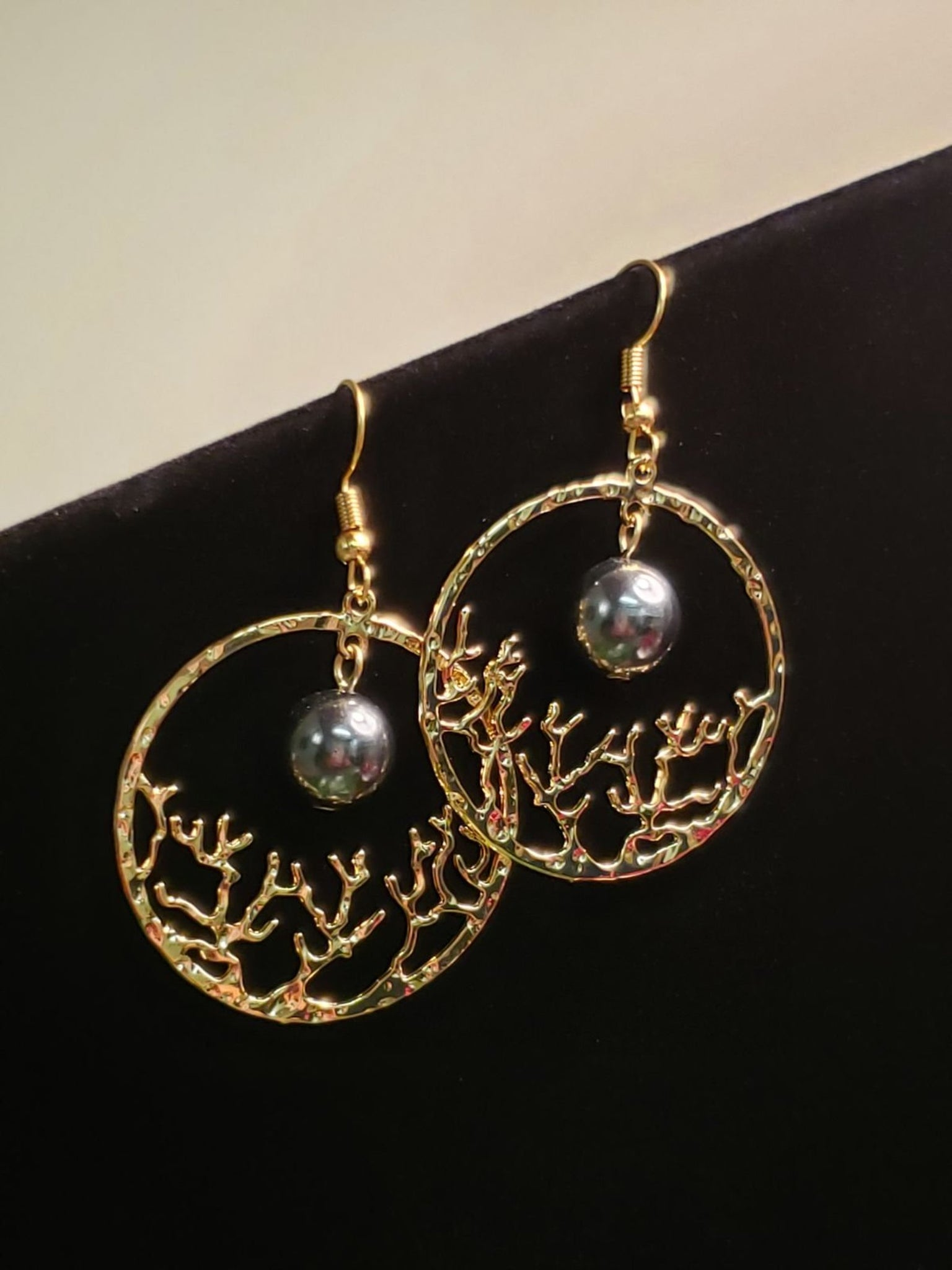 Gold Coral Pearl Earrings