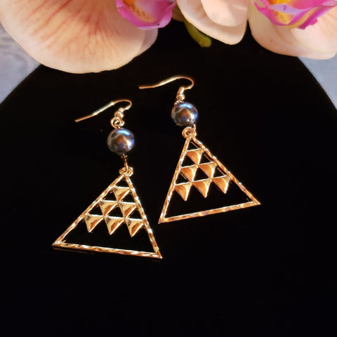 Gold Tribal Triangle Pearl Earrings
