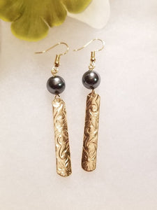 Gold Hawaiian Pearl Vertical Plate Earrings