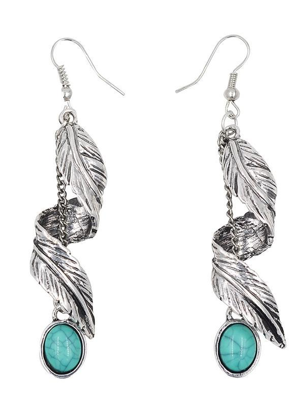 Bohemia Turquoise Leaf Earrings Accessories