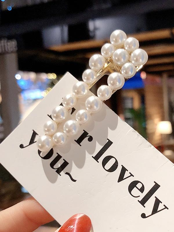 Ins Style Hollow Faux Pearl Hair Clip
