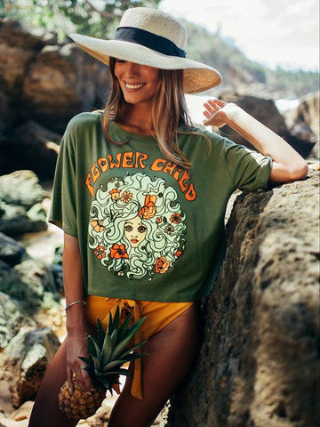Simple 2Color Flower Child Printed T-Shirts Tops