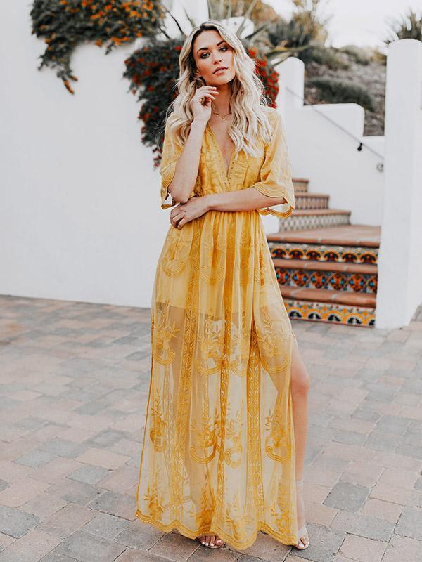 Yellow Lace V-neck Split-side Cover-up Dress