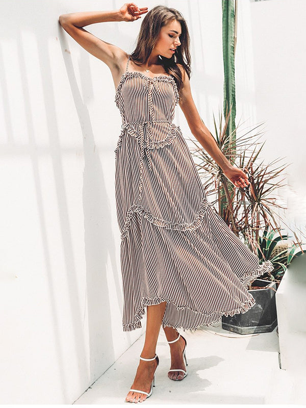Summer Stripe Lace Up Midi Lady Female Beach Sundress Dress Vestido