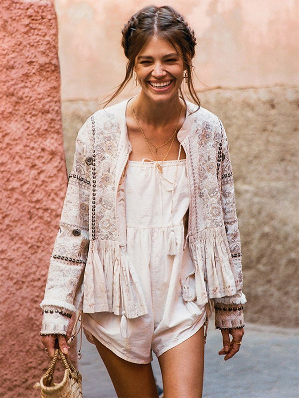 Cotton Lace Embroidery Hollow Out Tassel Small Loose Jumpsuit Coat Two-piece Set