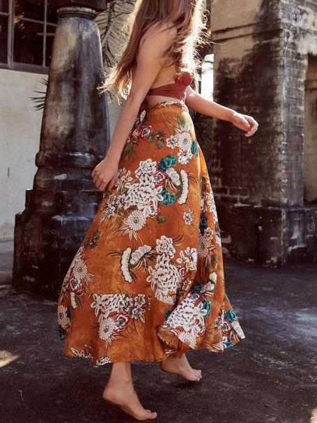 Floral Printed Bohemia Skirt Bottoms
