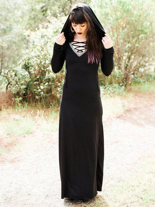 Hooded Long Sleeve Maxi Dress