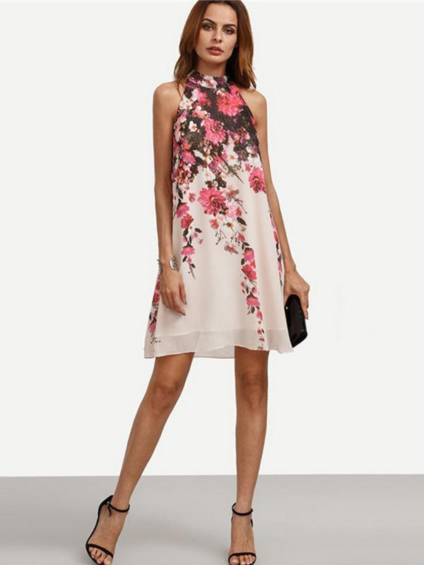 Chiffon Floral Printed A-line Sleeveless Mini Dress