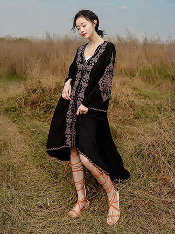 Ramie Cotton Embroidered Flared Sleeves V-neck Maxi Dress