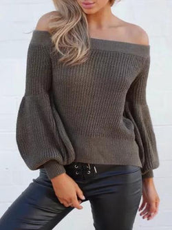 Knitting Off-the-shoulder Puff Sleeves Sweater Tops