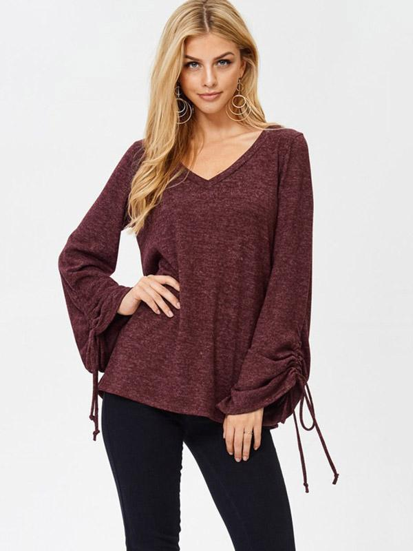 Lace-Up V-neck Blouses&Shirts Top