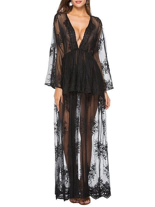 Lace Falbala Deep V-neck Evening Dress