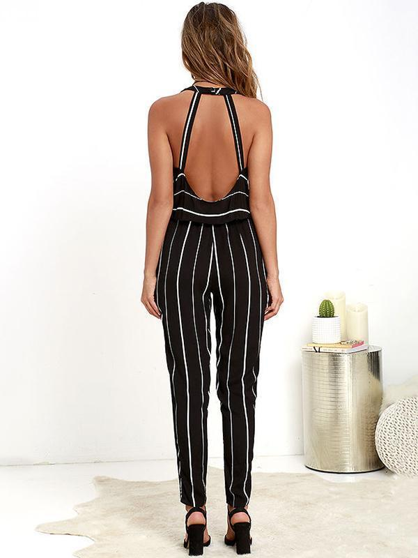 Striped V-neck Backless Long Jumpsuits