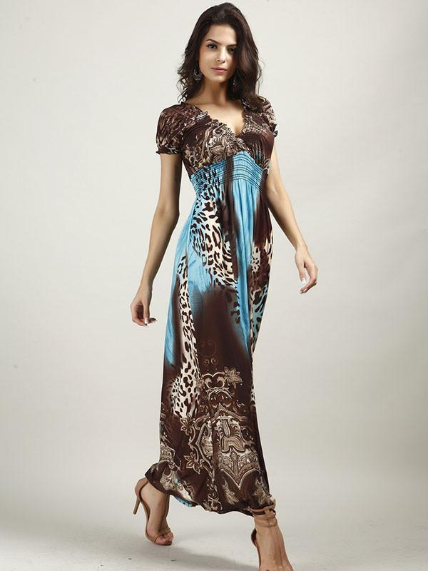 Beautiful Bohemia Floral Short Sleeve V Neck Maxi Dress