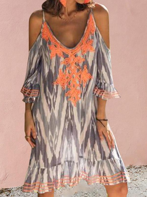 Plus Size Sexy Cold Shoulder printed Midi Dresses
