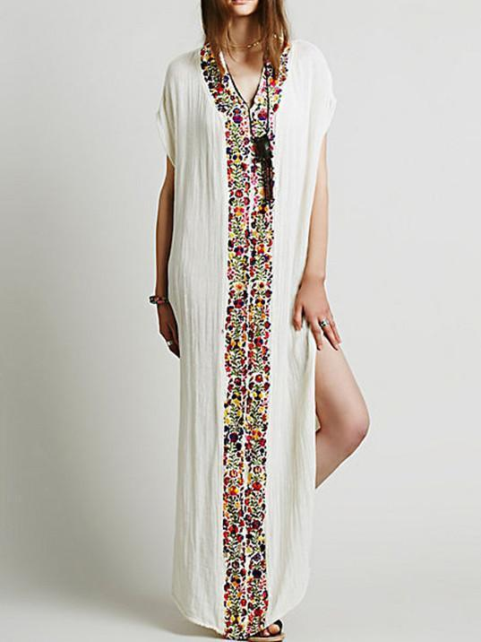 Bohemia Floral-Print Deep V Neck Maxi Dress