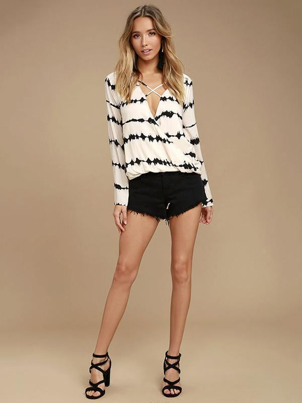 Chiffon Bandage Striped Deep V-neck Blouse Shirt Tops