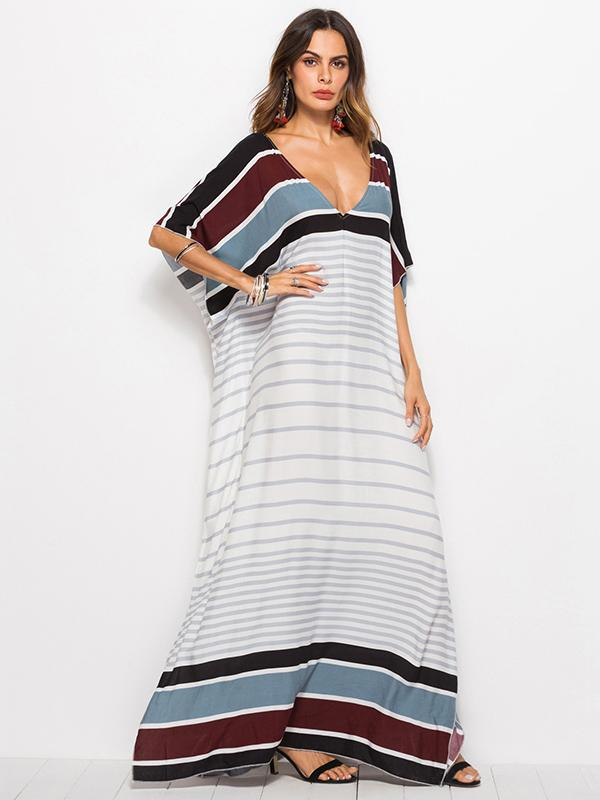Loose V-neck Striped Maxi Dresses