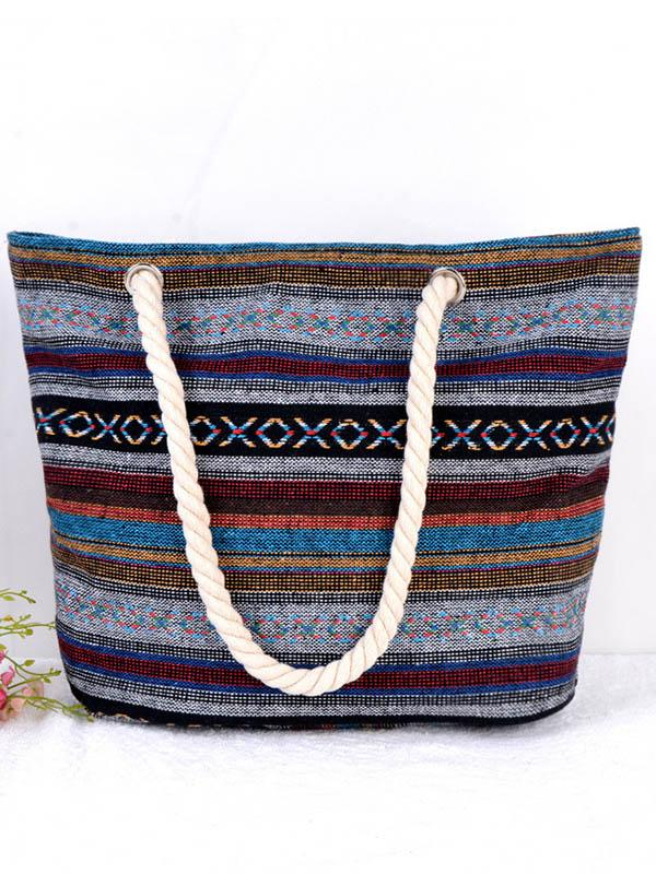 Bohemia Canvas Geometry Floral Bag