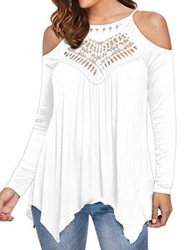 Lace Patchwork off-the-shoulder Long-sleeved Casual T-shirt