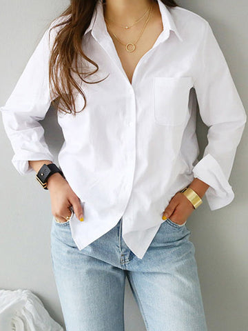 Spring One Pocket Women White Shirt Female Blouse Tops Long Sleeve Casual Turn-down Collar OL Style Women Loose Blouses