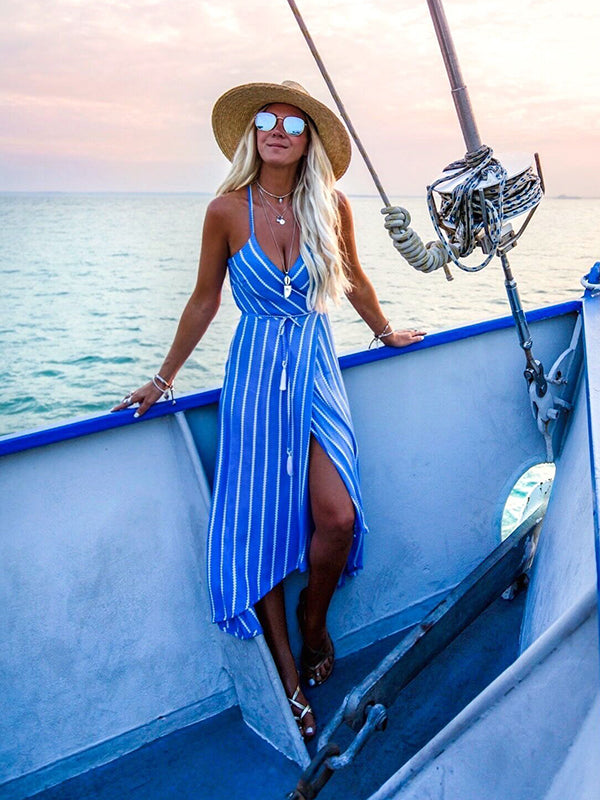 Women Summer Boho Maxi Long Striped Halter Evening Party Beach Dresses