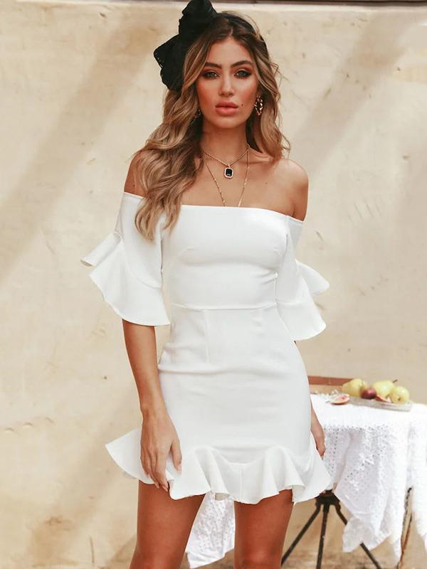 White Off-the-shoulder Falbala Mini Dress
